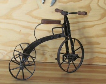 Antique toy tricycle,toy trike,steel trike,home, office or garden decor,early 1900's English toy trike.