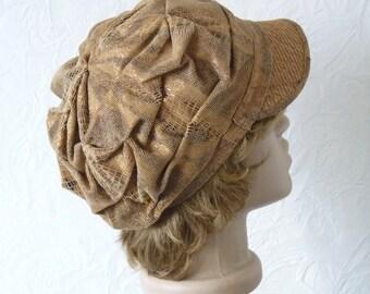 Women's cap, Velveteen, The cap from velveteen, Women's hat, Beige hat, Warm hat, Winter hat, Women's autumn cap, Corduroy cap
