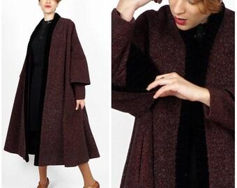 Vintage 40's/50's Burgundy Striped Eyelash Wool Swing Coat w/ Velvet Trim & Double Sleeve by Lilli Ann and Blin + Blin | Small Medium