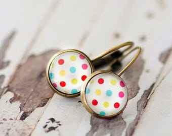 GORGEOUS DROP EARRINGS - French Lever Back 12mm Earrings - Polka Dot