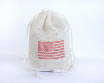 American Flag Bag 4th July 6 with stamp gift sack goodies treat bag