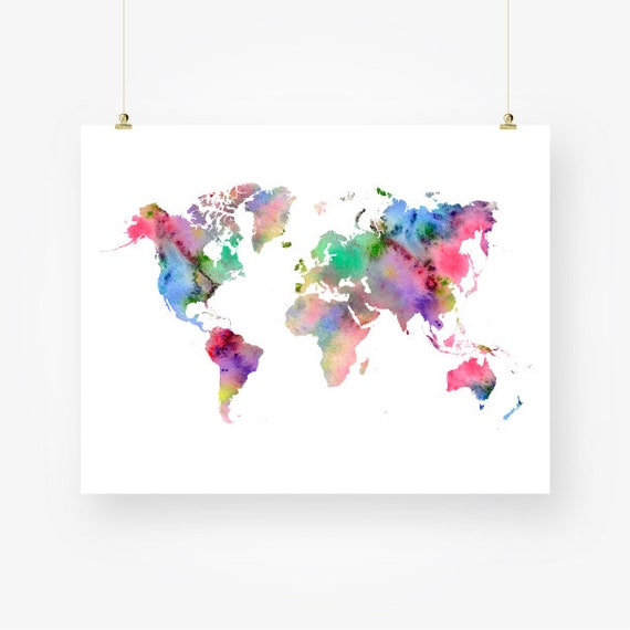 Watercolor world map download colorful abstract wall art decor watercolor world map download colorful abstract wall art decor jpg pdf travel gift poster printable pink blue digital print instant download gumiabroncs Image collections