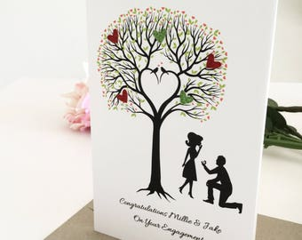 Handmade Engagement Card Congratulations on your Engagement Gift for couple personalised gift custom made couple gift love tree Australia