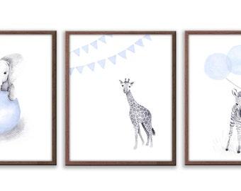 Nursery Wall Art, Kids Art, Playroom Wall Art, Baby  Boy Art, Baby Wall Art, Limited Edition Set Of Three Art Prints - SO63W