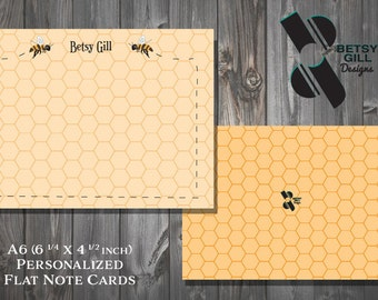 Stationery Note Cards, Correspondence Cards, Bumble Bee Themed Personalized