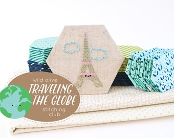 Traveling the Globe Stitching Club - Embroidery and EPP Mini Quilt Project