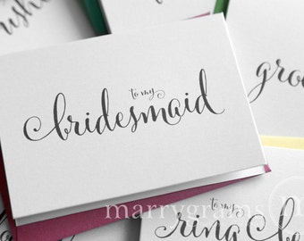 Thank You Cards for Bridesmaid, Maid of Honor, Groomsman, Flower Girl, To My Wedding party Notes- Wedding Thank You Cards Bridal Party CS07