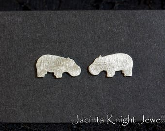 Sterling silver hippo stud earrings