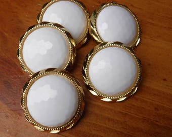 """11 Gold and Cream Beveled Large Round Shanked Buttons Size 1  1/8""""."""