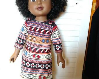 """Bold Print Knit Dress 18"""" Doll"""