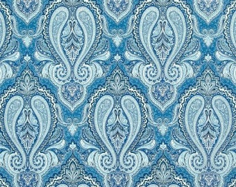 Two 20 x 20  Custom  Pillow Covers - Indoor Outdoor -  Large Damask Heavenly - Blue Grey White