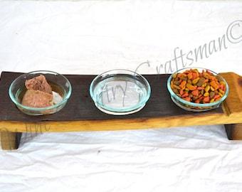 """Wine Barrel Cat Food Dish - DOVELA - """"Macka"""" - made from reclaimed Napa wine barrels - 100% Recycled!"""