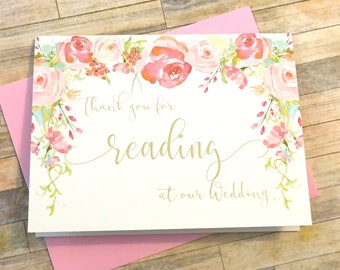 Thank you for reading at our wedding - Card for Wedding Reader - Vintage Floral Watercolor Wedding Reader Card - Gift for reader - HEIRLOOM