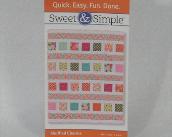 "Sweet & Simple Shuffled Charms Quilt Pattern by Barbara Groves and Mary Jacobson, Finishes at 37.5"" x 46.5"", Lap or Baby Quilt Pattern"