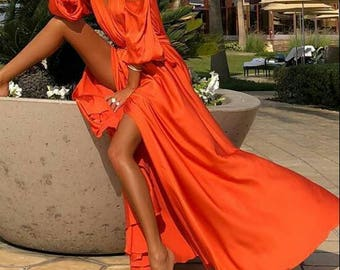 Satin # maxi # long dress # other colours available # Made to order #