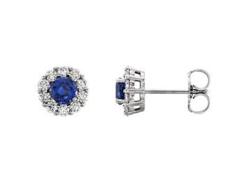 14K Gold Blue Sapphire Earrings / Diamonds & Sapphire Stud Earrings White Gold