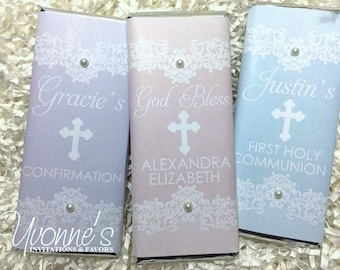 Communion Candy Bar Wrapper- Chocolate Bar Favors - Lace and Pearls - Communion / Christening /Baptism /Religious Event Candy Bar Favor
