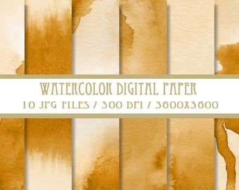 Gold Watercolor Digital Paper ( Instant Download )