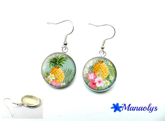 Pineapple, exotic earrings, hibiscus, 3478 glass cabochons