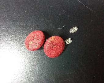 Rust Red and Gold Scrap earrings | Deer Upcycled fabric earrings | Cloth Button Stud Earrings | Unique Jewelry