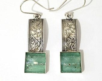 One of A Kind 925 Sterling Silver Roman Glass Earrings