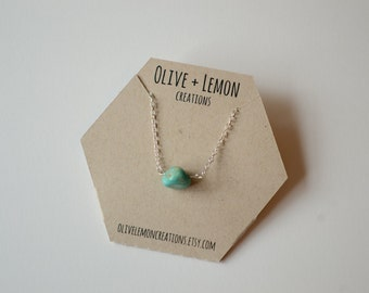 Turquoise Necklace - Silver Gemstone Necklace - Simple Turquoise Necklace - Sterling SilverNecklace - Bohemian Necklace - Dainty Necklace