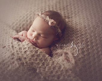 NEWBORN FLOWER CROWN {Eliza} Floral Crown - Newborn Halo - Newborn Headband - Newborn Photo Prop - Newborn Crown - Photography Props
