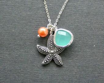 Aqua Necklace, Beach Necklace, Silver Seastar, Aquamarine.  Beach Wedding Jewelry, Aqua Jewelry, Everyday Necklace. Gift. Sterling silver,
