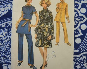 vintage 1970s Simplicity sewing pattern 9085 misses dress or tunic and pants size 12