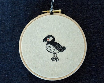 """Cheeky puffin, Hand embroidered illustration , 5"""" embroidery hoop wall art"""