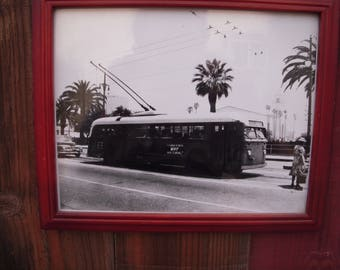 Original B&W photograph 1950 Electric trolley Bus Downtown Los Angeles