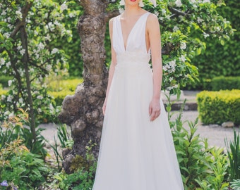 Monroe Inspired Wedding Dress, with delicate French beaded trim