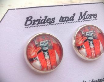 Halloween Studs Zombie Earrings Baseball Earrings Skull Earrings Punk Earrings Stud / Dangle Skull Studs Skeleton Earrings Skull Jewelry