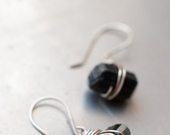 Rough, raw and minimalist black Tourmaline nugget wire wrapped earrings with sterling silver.