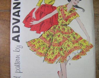 Vintage Advance Pattern 8989 Festive 2 Piece Dress Pattern 3 Tiered Ruffled Skirt
