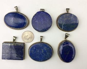 Natural Lapis Lazuli Gemstone Bead (German Copper Framed) Pendant J1304