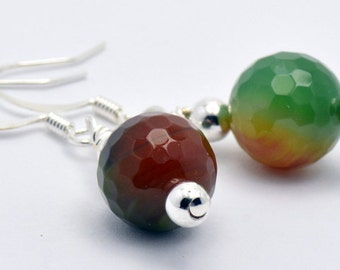 Green and Brown Faceted Agate Silver Plated Fish Hook Earrings - EA00307