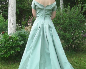 aqua vintage gown . 50s gown . vintage wedding gown . aqua evening gown . bridesmaid dress . prom gown . X-Long gown