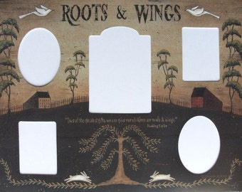 Prim ROOTS & WINGS Photomat, 5 openings. Primitive Country Folk Art. Family Children Quotation 12x16 Photo Mat Print by Donna Atkins