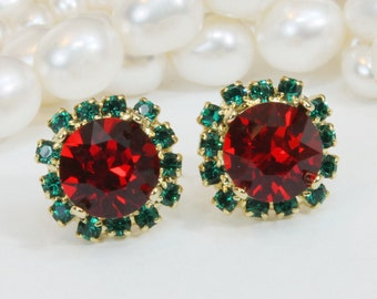 Christmas Stud Earrings Red Green Stud earrings Swarovski Crystal Christmas Post Earrings Gold Red Green Halo Earrings,Gold,Light Siam,GE95