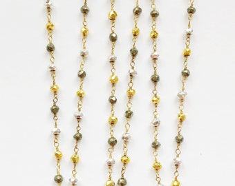 Pave Rhinestone Teardrop on Mixed Pyrite Chain