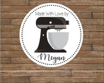Personalized Kitchen Mixer Stickers    From the Kitchen Of Stickers      Baked Goods Stickers    Kitchen Tags  Black Kitchen Mixer