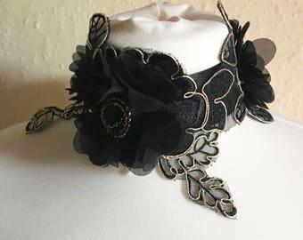 Handmade Black and Gold Flower Choker
