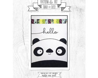 NEW Quilt Pattern - Comes with Fusible Bias Tape. Cursive Quilt - Panda Pattern.  Baby Quilt Pattern.  Pattern and Kit.