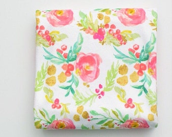 Baby Toddler Modern Fitted Minky Crib Sheet - Winter Floral in Pink and Gold