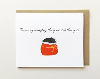 Best friend Christmas card, Cheeky Christmas card, Naughty Christmas card, Boyfriend Christmas card, Girlfriend Christmas card, Coal card
