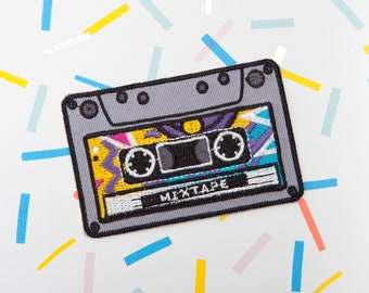 Mixtape Patch - Made with Vegan Iron-On Adhesive - Embroidery Sewing DIY Customise Denim Cotton Cassette Hipster 80s Retro Geek Nerd Vintage