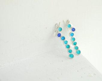 Peacock Blue Earrings, Ocean Wave Earrings, Artisan Paper Jewelry