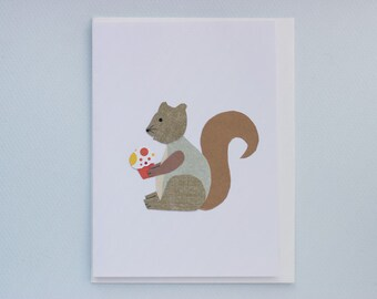 Happy Birthday Squirrel with Cupcake - print card by Emily Lin