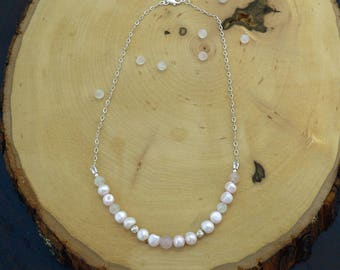 Reiki Healing Necklace, Love Necklace, Pearl Necklace, Pink Pearl and Rose Quartz Necklace, Bib Necklace